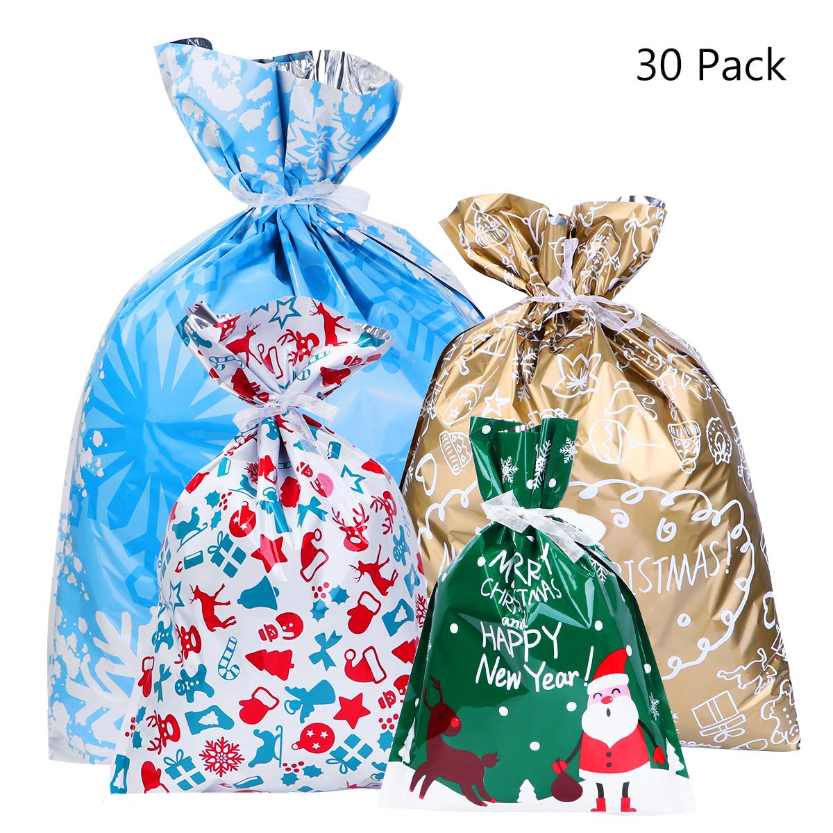 BESTOYARD 30PCS Christmas Gift Bag Christmas Goody Bags Gift Wrapping Assorted Styles with 30pcs Ribbon Ties  sc 1 st  Amazon UK & Gift Wrap Bags: Amazon.co.uk