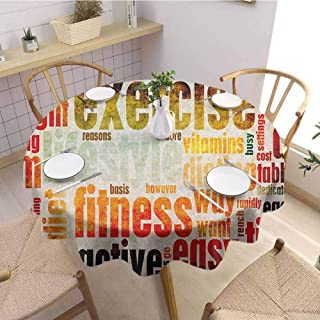 Dinning Round Tablecloth,FitnessGrungy Framework with Different Words Healthcare Concept Diet Endurance Exercising,Stain Resistant, Washable Multicolor Diameter 67