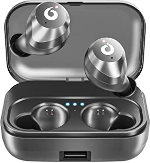 Bluetooth Wireless Earbuds, Bluetooth Headset Wireless Earphones IPX7 Waterproof Bluetooth 5.0 Stereo Hi-Fi Sound with 2200mAh Charging Case (Black)