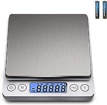 DDS-DUDES Balances de cuisine numériques (3 kg, 0,1 g) Mini balance alimentaire de haute précision en acier inoxydable Bal...
