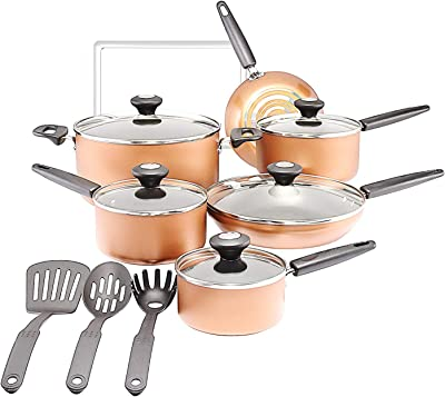 Cookware Set. Best 15 Piece Pots and Pans Non Stick Aluminum Cooking Frying Kit With Glass Lids. Oven Safe. Saucepans, Stockpot, Fry Pans, Kitchen Tools (Copper)