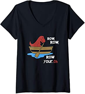 Womens Row Row Your Oh Funny Sad T-Rex in Boat Sarcasm Gift Meme V-Neck T-Shirt