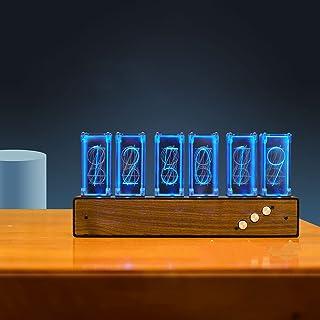 Nixieチューブクロック、6桁LEDクリエイティブクロックレトロナキシーチューブ時計夜ライトベッドルームデスクトップクロック