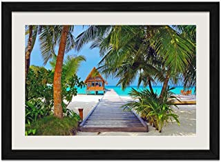 Holiday Isle - Art Print Wall Black Wood Grain Framed Picture(20x14inches)