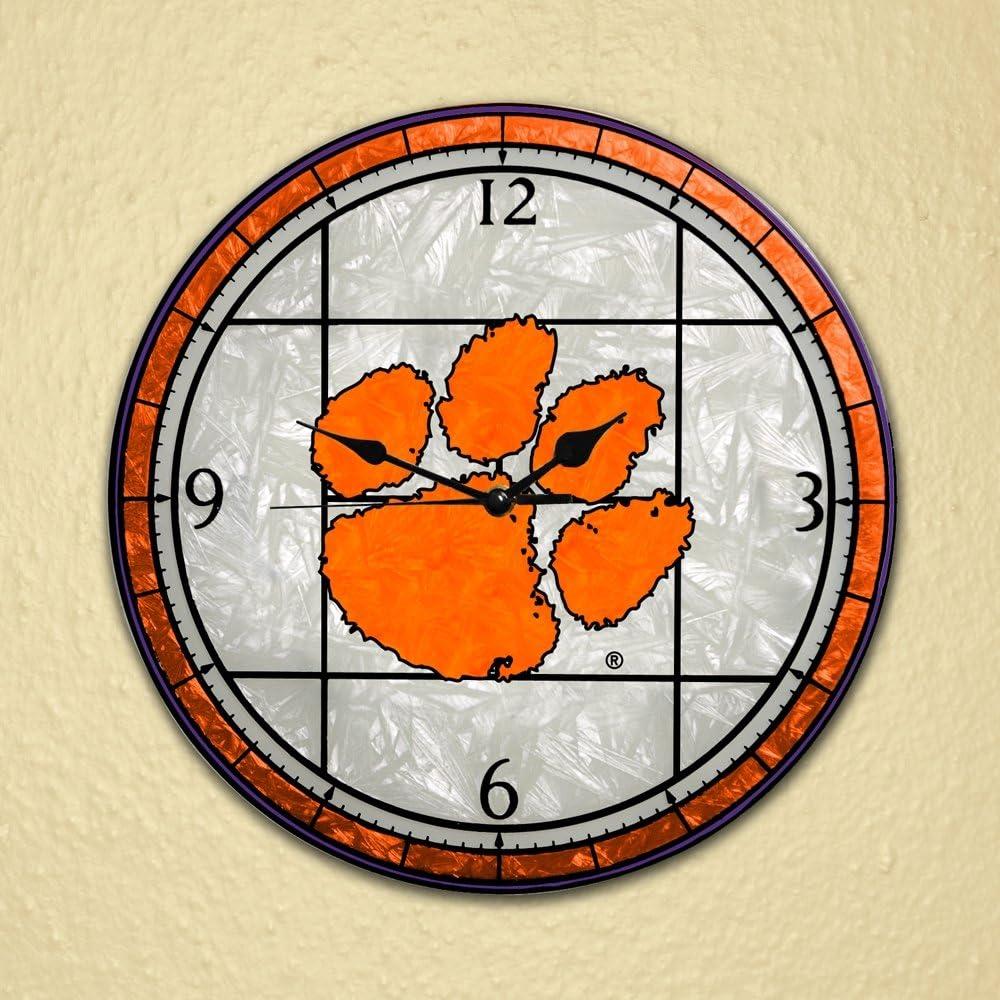 Memory Sale item Company Clemson Tigers Clock Ranking TOP14 Glass Art 12in