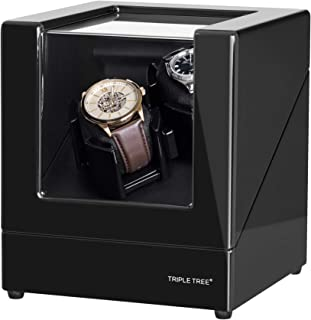 Double Watch Winder [Newly Upgraded], for Automatic Watches, Wood Shell Piano Paint Exterior ,Extremely Silent Motor, Flexible Watch Pillows, Suitable for Ladies and Men's Wrist
