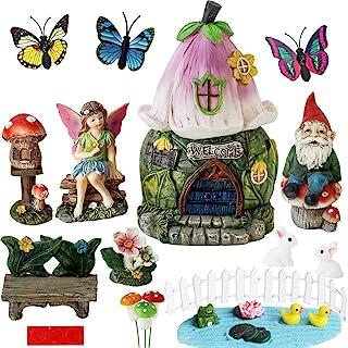 BangBangDa Garden Fairy Garden Decor Accessories - Miniature Flower Gnome Garden Kit Gnome Figurines Statue Set for Outdoo...