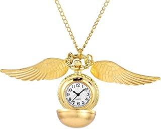 Antique Ball Wings Snitch Pocket Watches Quartz Movement Pendant Pocket Watch Gift Bag