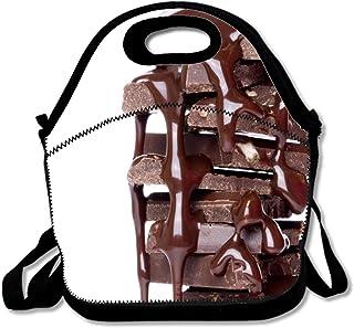 ネオプレン ランチバッグ チョコレートシロップとチョコレートの部分スタックランチボックス トート メンズ レディース ボーイズ 大人 キッズ 通学 アウトドア