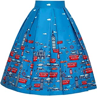 JUSSON Women's Skirt Printed Pleated Skirt Midi Skirt Cotton Fabric-blue