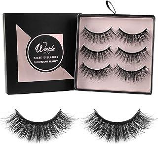 Fake Eyelashes Wenida 3 Pairs Professional Handmade Reusable 3D Soft Dramatic Fluffy Long Deluxe False Eyelashes Set