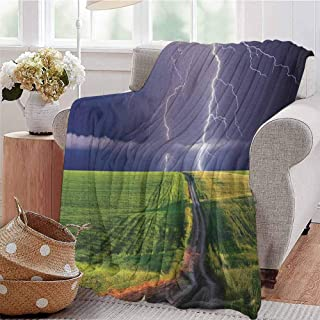 Luoiaax Nature Comfortable Large Blanket Summer Storm About to Appear with Flash on The Field Solar Illumination Energy Theme Microfiber Blanket Bed Sofa or Travel W80 x L60 Inch Green Blue