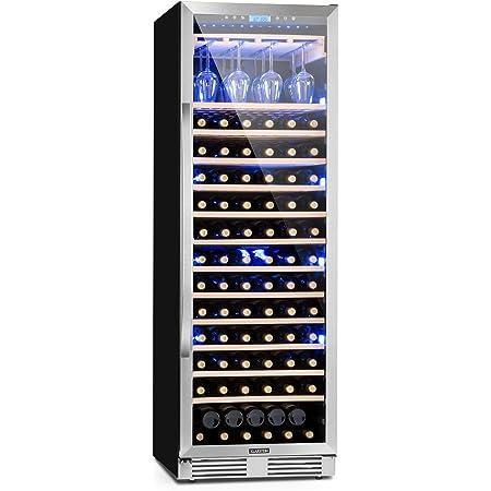 KLARSTEIN Vinovilla Grande - Cave à vin, Porte vitrée panoramique, Eclairage intérieur tricolore, 165 bouteilles de vin, Ecran tactile, Porte-verres à vin intégré, Capacité de 425L - Argent