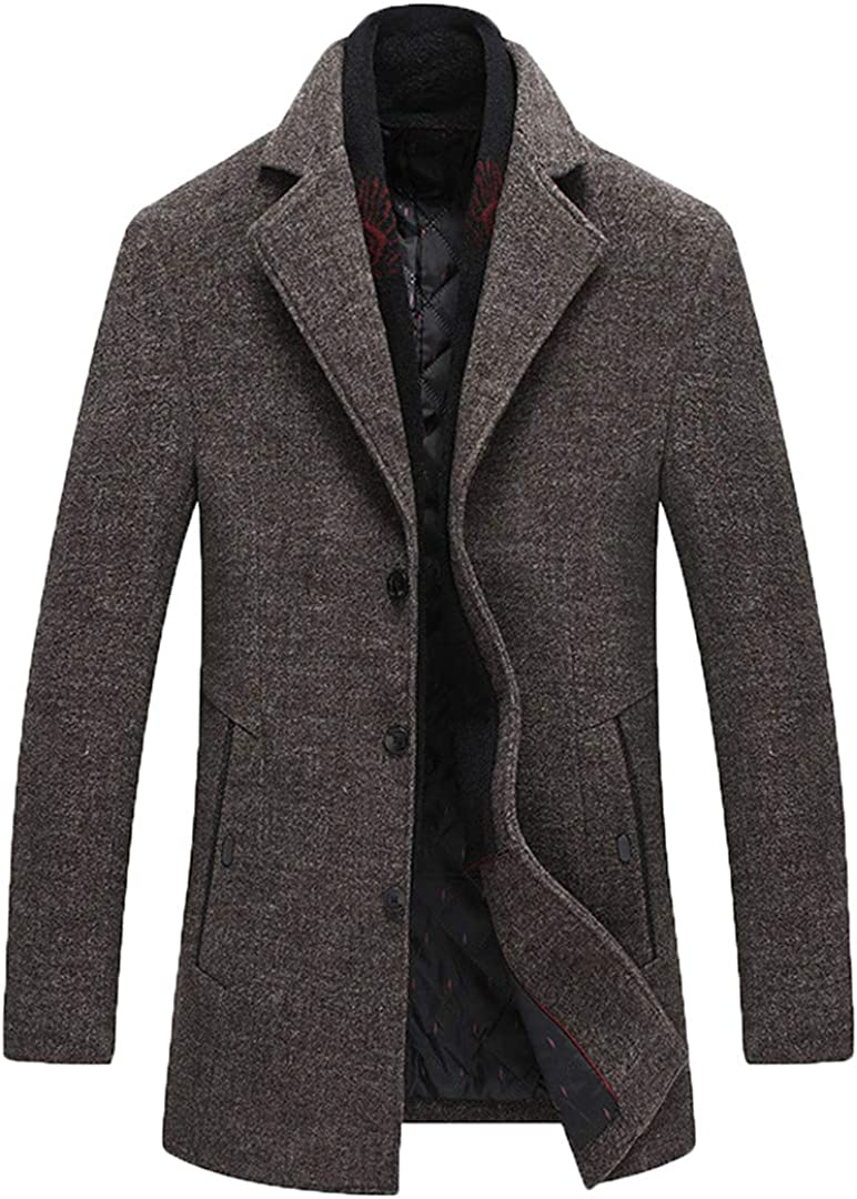 Wool Blend Coat Men Winter Wild Overcoat with Scarf Turn-Down Collar Casual Wool Coats