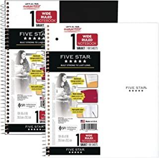 """Five Star Spiral Notebooks, 1 Subject, Wide Ruled Paper, 100 Sheets, 10-1/2"""" x 8"""", Black, White, 2 Pack (38221)"""