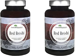 Aloha Medicinals - Pure Red Reishi - Certified Organic Mushrooms – Ganoderma Lucidum – Health Supplement – Supports Cardiovascular, Immune System and Liver Function - 525mg - 90 Capsules (2 Pack)
