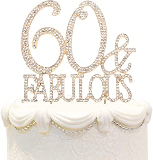 Hatcher lee 60 & Fabulous Cake Topper 60 Years Birthday Or 60th Wedding Anniversary Gold Crystal Rhinestone Party Decoration