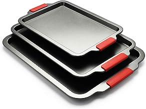 Creatif 3 Piece Baking Sheets Nonstick Bakeware Set, Premium Cookie Sheet Pan Set with Silicone Grip Handles,13/18/19 Inch...