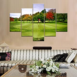Extra Large Green Course Lawn Paimting on Canvas Picture Golfer Wall Art Golf Target Home..