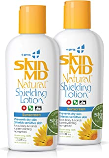 Skin MD Natural Shielding Lotion for Face, Body & Hands 4oz + SPF 15-2 Pack - Helps with Eczema & Psoriasis! The natural dry skin remedy to the things that dry your skin.…