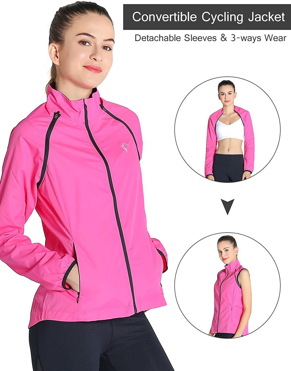 Shelcup Women's Windproof Water Resistant Congreenible Cycling Running Jacket
