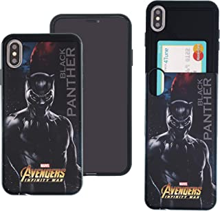 iPhone Xs Max Case Marvel Avengers Infinity War Slim Slider Cover : Card Slot Shock Absorption Dual Layer Holder Bumper for [ iPhone Xs Max ] Case - Black Panther