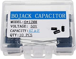 BOJACK 6X12mm 47uF 50V 47MFD 50Voltage ±20% Aluminum Electrolytic Capacitors(Pack of 10 Pcs)