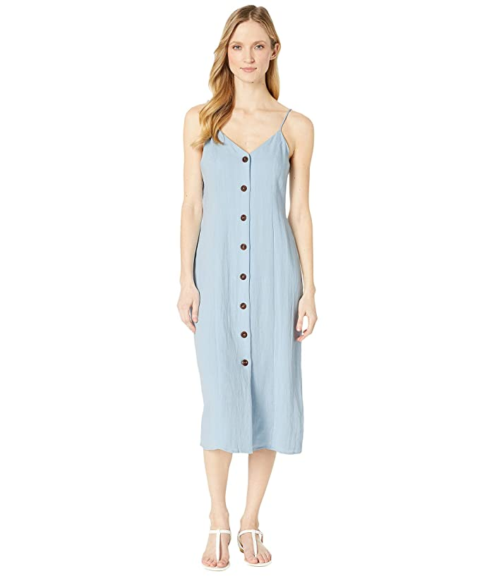 American Rose Bex Spaghetti Strap Button Up Dress (Sky Blue) Women