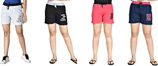 Club A9 Women's Cotton Printed Shorts | Short Pants (Pack of 4) - Value Pack