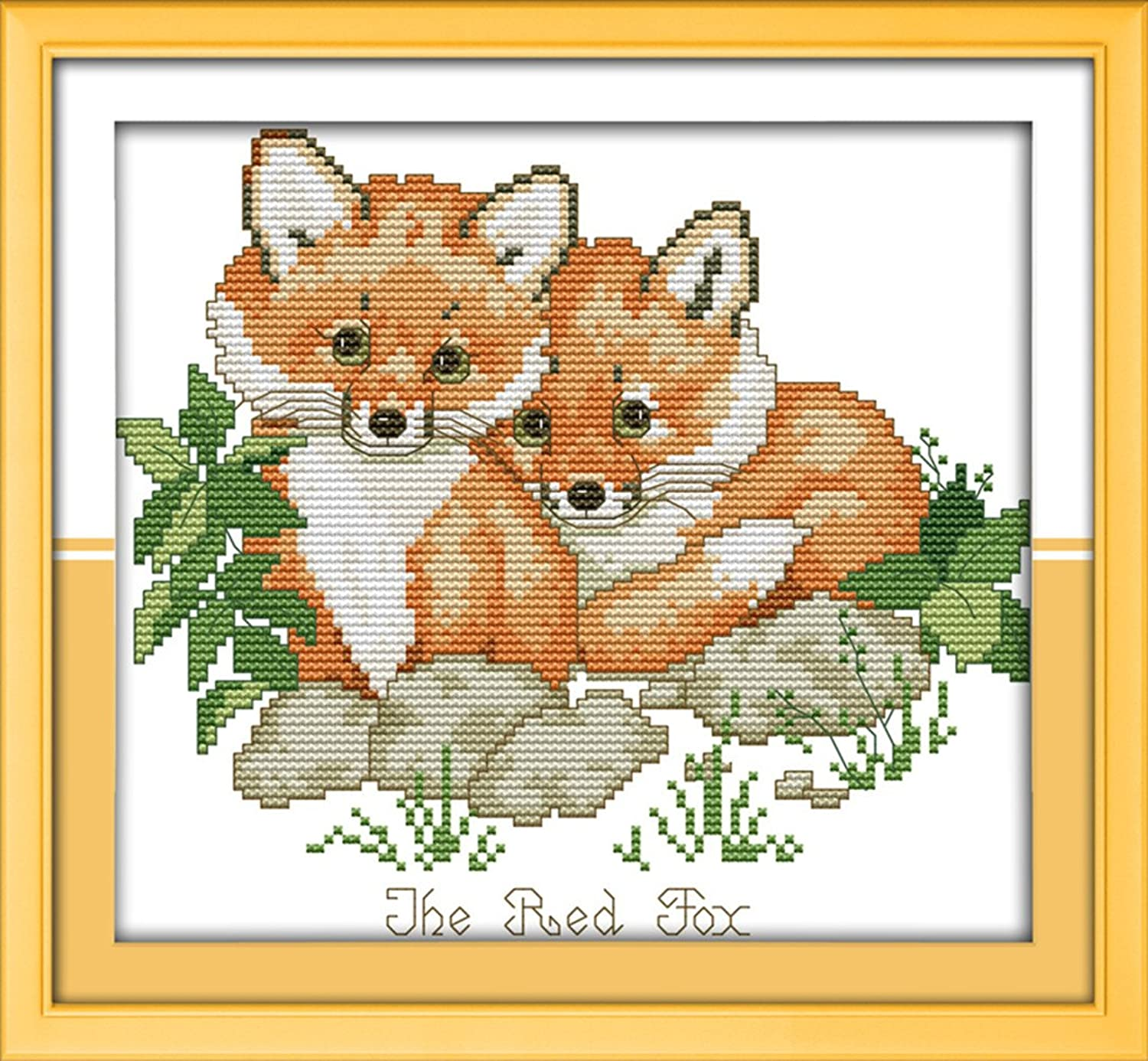 CaptainCrafts Hots Cross Stitch Kits Patterns Embroidery Kit - Red Foxes (STAMPED)