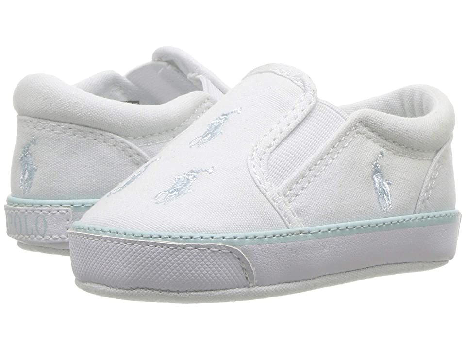 Polo Ralph Lauren Kids Bal Harbour Repeat (Infant/Toddler) (White Canvas/Light Blue PP) Boys Shoes
