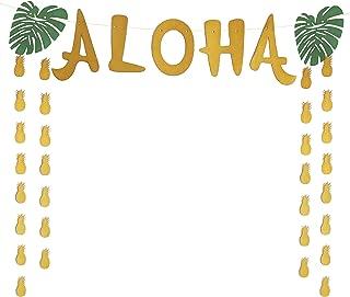 Aloha Craft Company, Aloha Luau Banner - Large Hawaiian Pineapple Gold Glitter Banner For Tropical Beach Party Supplies
