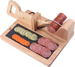 Sausage cutter CHIUSING Premium Sausage Salami Guillotine Slicer- Rustic Wooden Design & Sharp Stainless Steel Blade For Slicing Chorizo, Pepperoni & More Dried Meat Delicacies with child saft lock