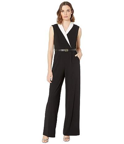 Calvin Klein Color-Block Collar Belted Jumpsuit (Black/Cream) Women