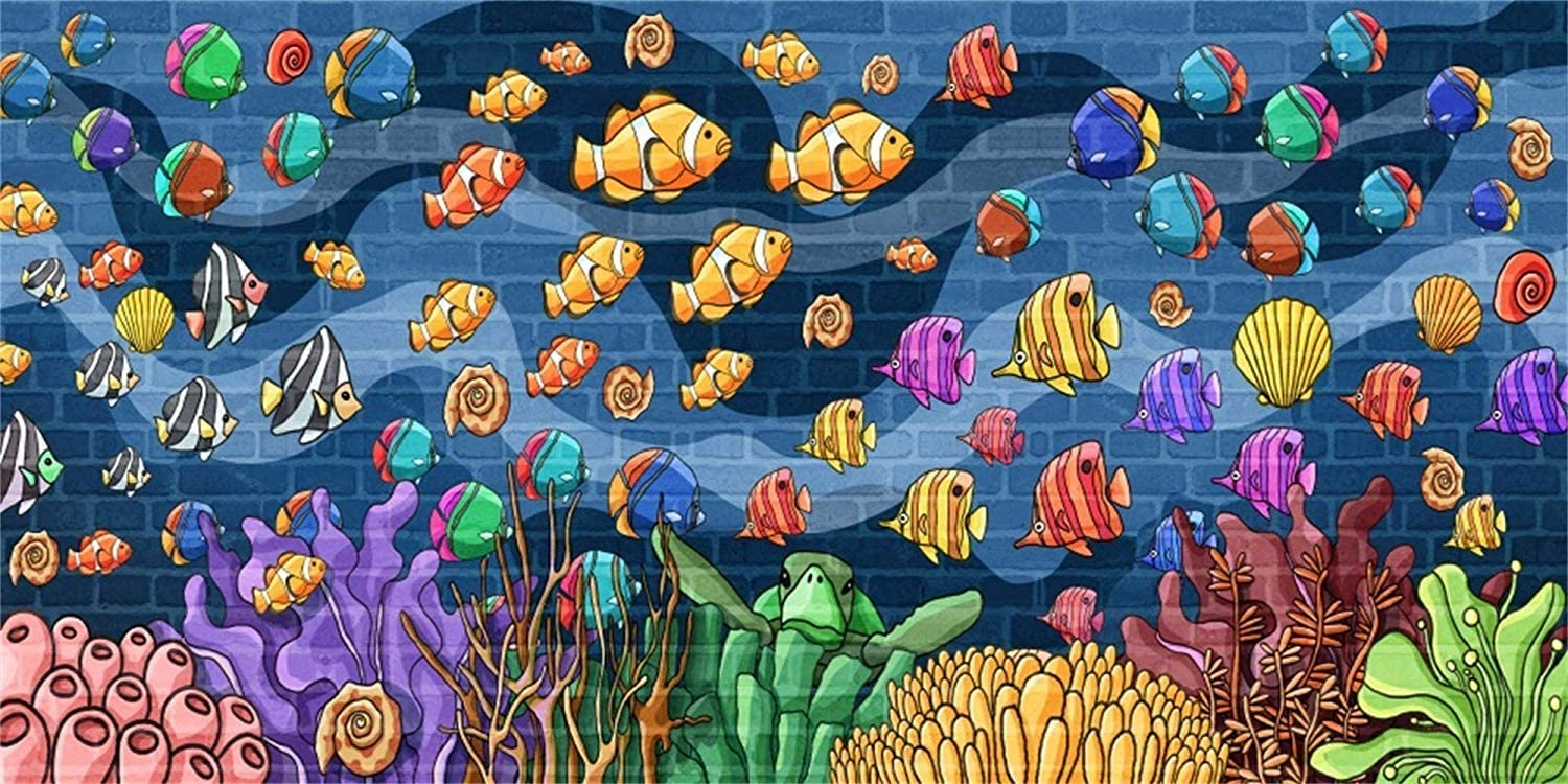 SZZWY Cartoon Underwater Marine Theme 10x5ft Vinyl Photography Background Cute Colorful Fishes Corals Turtle Sea Plants Illustration Backdrop Child Baby Portrait Mermaid Birthday Party Banner