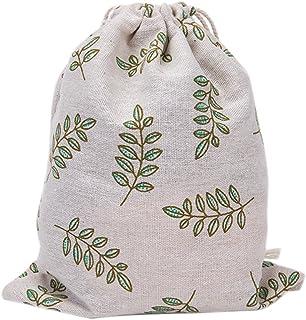 Bullidea Cotton Drawstring Bags Linen Bags Gift Sacks Storage Pouch Leaf Printing Wedding Party Favor, 1 Pc