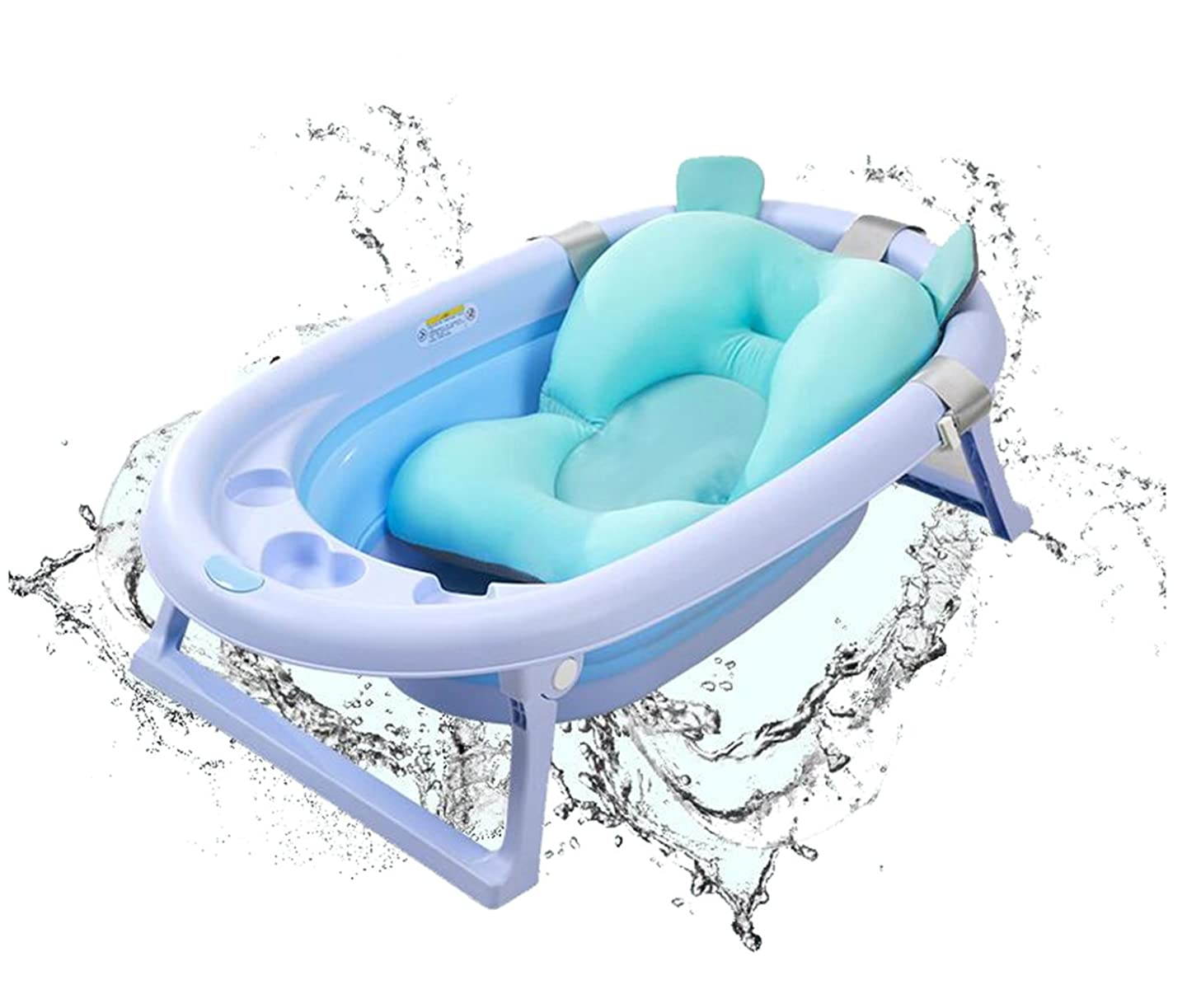 ALXDR Infant Bath Sponge Baby Bathing Support Float Cushion Anti-slip Sling Kid's Booster Cradle Seat 0-1 year old using