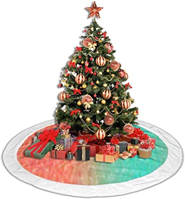 Amazon Com Lcztree Blue Peach Coral Turquoise Watercolor Teal Orange Pink Aqua Christmas Tree Skirt Plush Tree Skirt Ornaments For Xmas Party And Holiday Decorations Home Kitchen