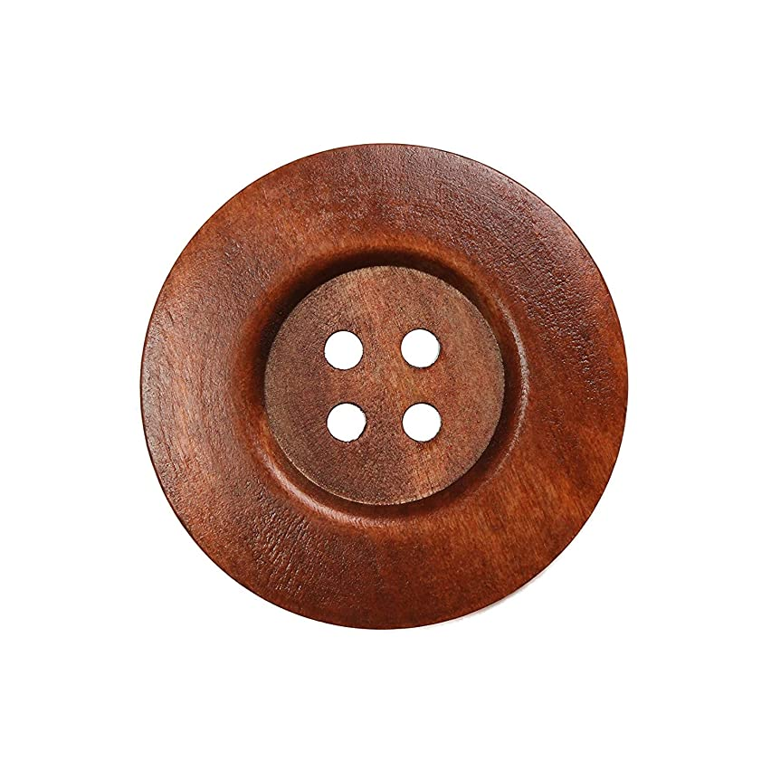 YAKA 22pcs Brown Round Wood Buttons 4 Holes,Craft Buttons for Sewing Clothing, Large Size 2.3Inch Sewing Buttons for Crafts (Style5)