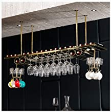 Simple and Modern Bar Wall-Mounted Wine Rack Ceiling Type Wine Rack Metal Stainless Steel Frame Decoration Stand - Bar, Dining Room, Kitchen Height Adjustable (Color : Gold, Size : 8035)