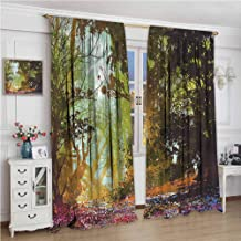 NUOMANAN Rod Pocket Blackout Curtain,Fantasy Spring with Fall Leaves,Thermal Insulated Room Darkening Curtains for Living Room,120 x 96 inch