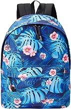 Uideazone School Backpacks for Teen Girls Leaves Printed Lightweight Canvas Backpack Bookbags Laptop Bag