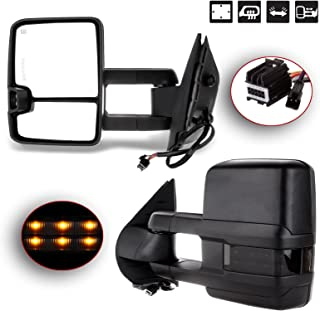 Towing Mirrors Automotive Exterior Mirrors for Chevy GMC 2007-2014 Silverado/Sierra Pair Rear View Mirrors with Power Control Heated Turn Signal Backup Light Manual Telescoping Folding