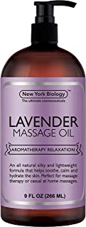New York Biology Lavender Massage Oil – 100% All Natural Ingredients – Lavender Sensual Body Oil Made with Essential Oils - Great for Muscle Relaxation, Stiff Joints & Deep Tissue – 9 FL Oz