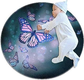 Svart gul fjäril, barn rund matta polyester överkast matta mjuk pedagogisk tvättbar matta barnkammare tipi tält lekmatta