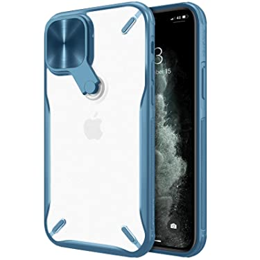 """Nillkin Case for Apple iPhone 12 / Apple iPhone 12 Pro (6.1"""" Inch) Cyclops Metal Stand Camera Protect Case Soft TPU Edge + Translucent PC Hard Back Blue Color"""