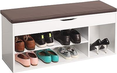 RICOO WM034-W-B Meuble à Chaussures 104x49x30cm Banc Coffre Rangement Commode Banquette Meuble de Rangement Chaussures Bois Blanc Coussin Brun