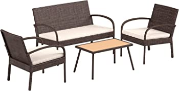 AmazonBasics 4 Piece Patio PE Rattan Wicker Sofa Set