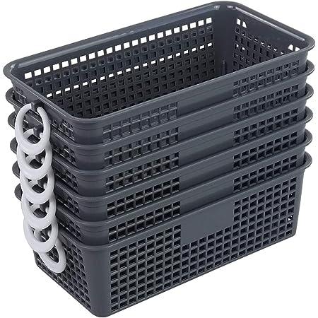 Callyne Paquet de 6 petits paniers de rangement en plastique, petit panier de rangement de cuisine avec poignée, gris