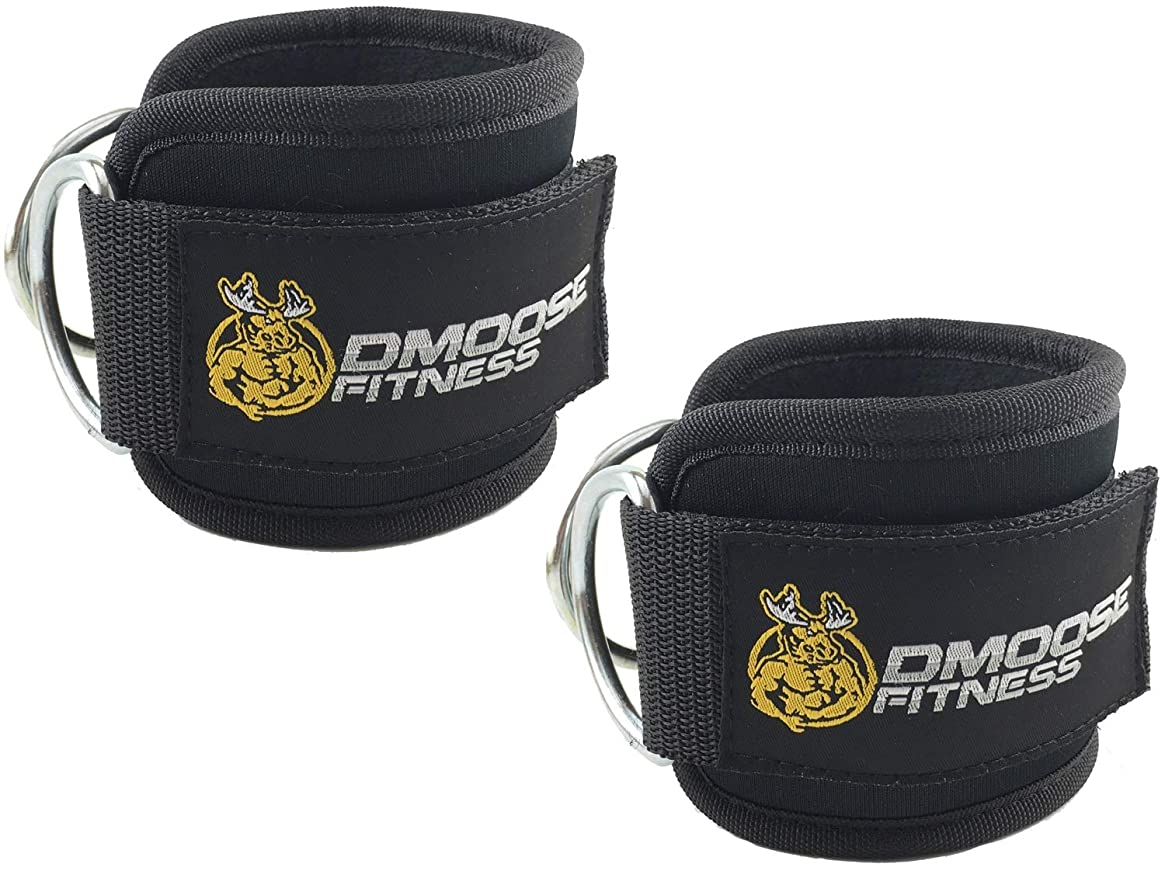 DMoose Fitness Ankle Straps for Cable Machines - Stainless Steel Double D-Ring, Adjustable Comfort fit Neoprene, Glute & Leg Workouts - for Women & Men